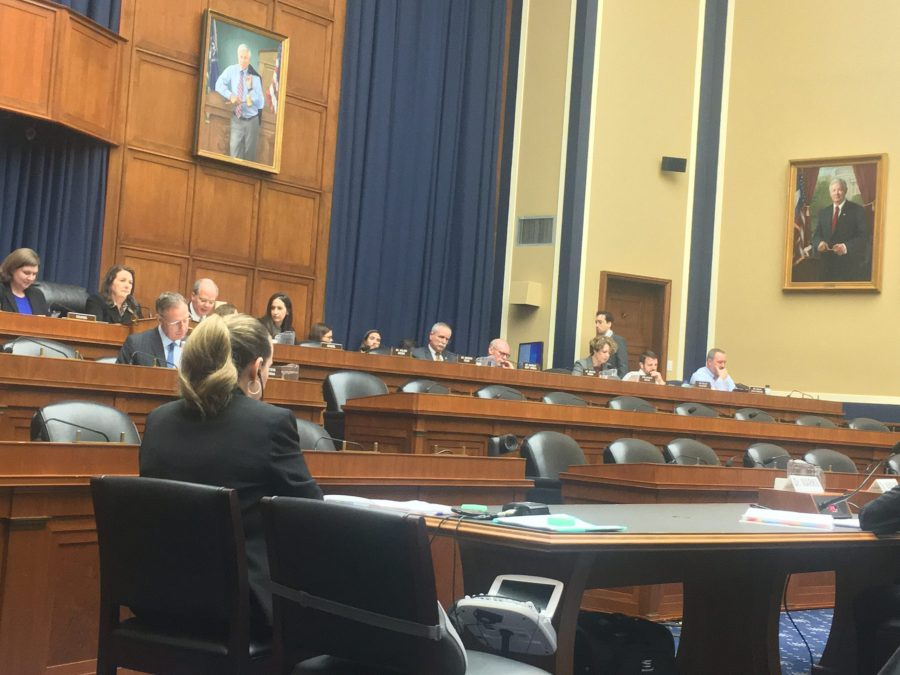Congressman Markwane Mullin (R-Ok), second from right, listens to testimony with other members of Congress on the House Committee on Energy and Commerce. Some representatives had large concerns regarding the time a vaccine needs to develop and effectiveness of flu shots. Gaylord News/Sarah Beth Guevara