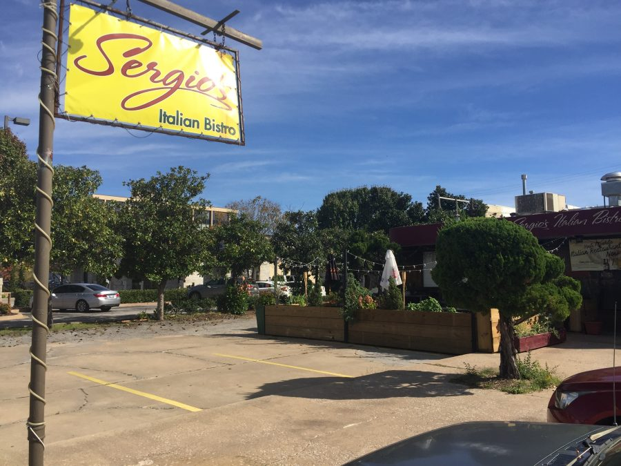 Sergio's Italian Bistro is located at 104 E. Gray St. and is behind Sooner Theatre.