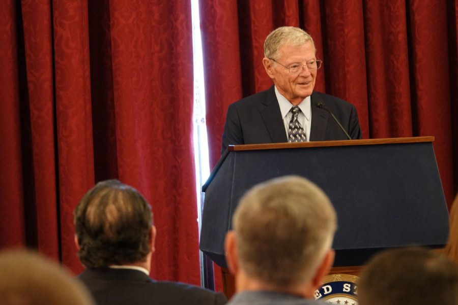 Sen. Jim Inhofe (R-OK) continues efforts on the Senate floor to pass a national defense bill that would authorize military appropriations for 2020. Addison Kliewer/Gaylord News.