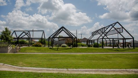 The Joplin Butterfly Garden and Overlook is in Cunningham Park, considered ground zero for the EF 5 tornado that ripped through southwest Missouri in 2011. The frames represent homes that stood on the spot. (Brigette Waltermire/News21)
