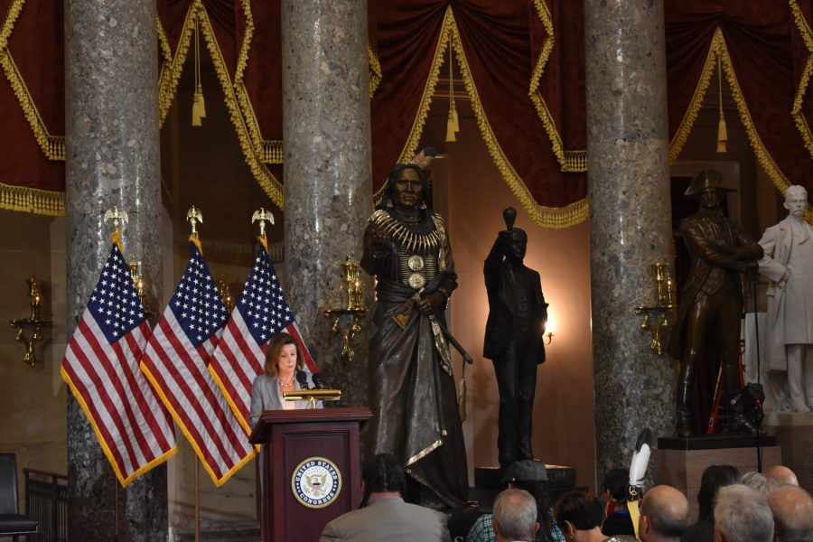 House Speaker Nancy Pelosi speaks at dedication of Chief Standing Bear statue in Statuary Hall of the U.S. Capitol.