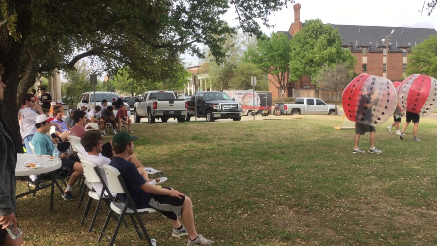Phi Gamma Delta fraternity members watch a game of Knocker Ball at their philanthropy, Phifa 17, benefiting the American Foundation for Suicide Prevention.