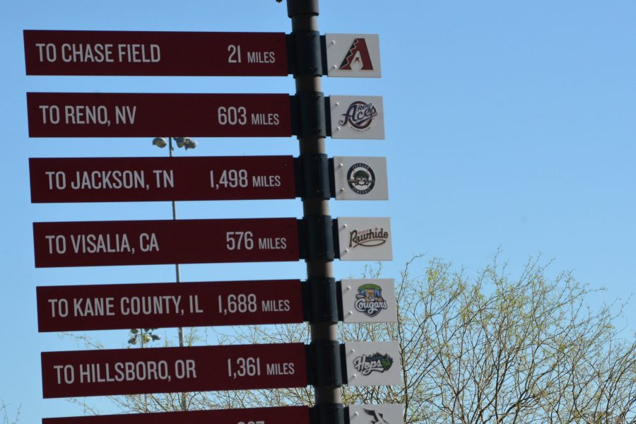 A sign at the Diamondbacks' spring training facility shows the distances to all to all of the organization's team facilities. The Diamondbacks went 69-93 last season.