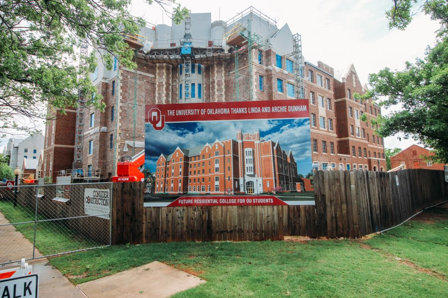A rendering of Dunham College is displayed in front of the Residential Colleges building site. Headington College and Dunham College will stretch along Lindsey Street from Asp Avenue to Jenkins Avenue.