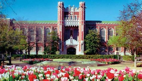The iconic south entrance to the Bizzell Memorial Library.