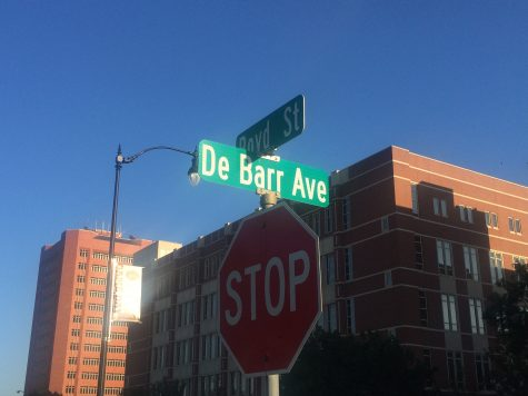 DeBarr Ave. located adjacent to Boyd St. near OU's Campus Corner. Some student groups and Clark are working toward changing the name to Henderson St. as an initiative for inclusivity for impacted students.