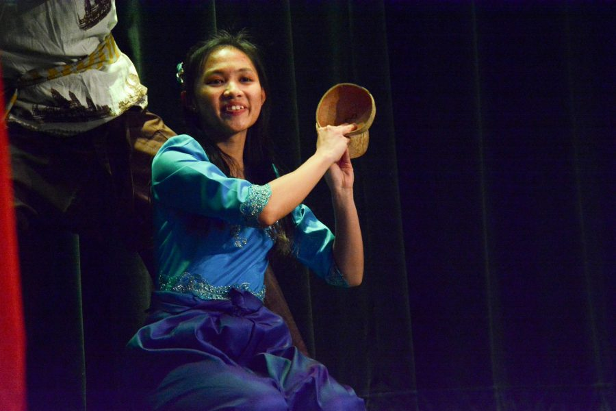Sou Hongchith, a sophomore from Laos, participates in a traditional dance at OU's first ever ASEAN Night.