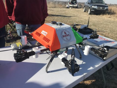 A drone the Oklahoma Mesonet team is testing sits on a table at the Kessler Atmospheric and Ecological Field Station. (Purcell, Oklahoma, March 15, 2018)