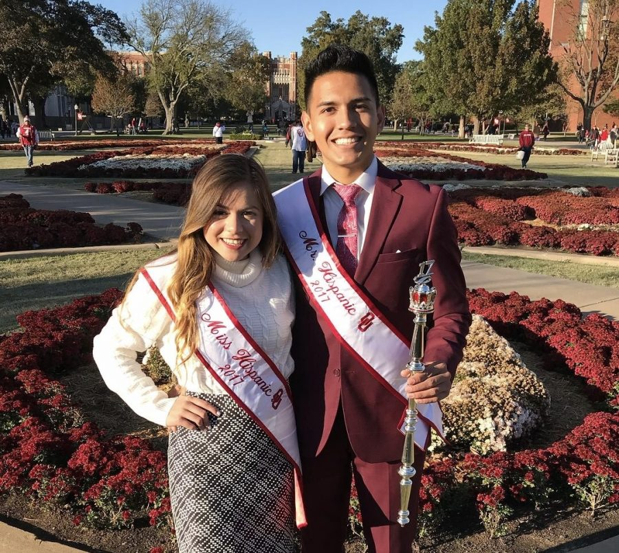 Winners of The Mr. & Miss Hispanic OU 2017 Pageant, Jema Esparza and Christopher Coronado in front of the South Oval for Homecoming 2017.