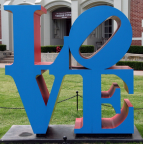 """LOVE"", a sculpture by pop artist William Obering, sits outside the University of Oklahoma's Jacobson Hall. The sculpture is one of several across OU's campus owned and upkept by the Fred Jones Jr. Museum of Art."