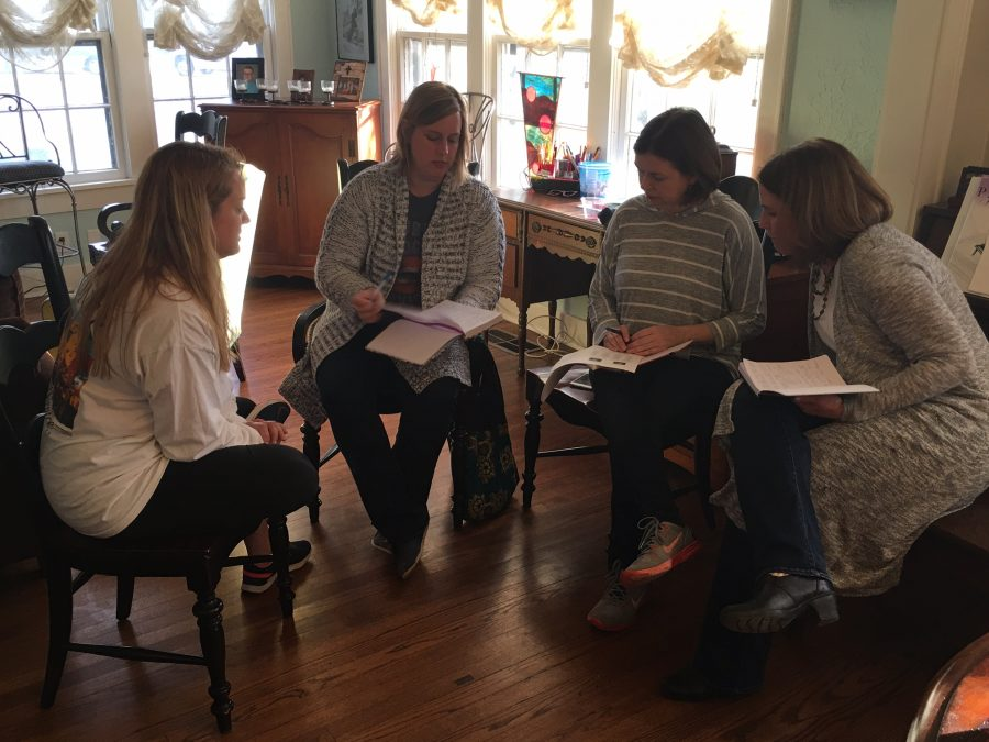 From left to right, Norman teachers Darcy Pippins, Kathy Wilson, Dawn Brockman and Stephania Abell meet to discuss their walkout strategy for the week on Sunday. The teachers, led by Brockman, decided to push for income tax reform bill HB3113.