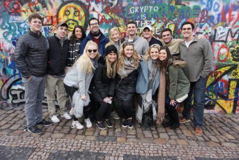 Students studying in Prague, Czech Republic with the Cultural Experiences Abroad (CEA) program. Mac Metzler (back row, far right) is an OU finance student who was connected to CEA through OU Education Abroad. Photo by Mac Metzler.