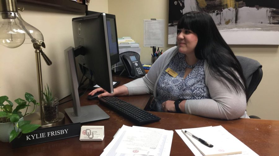 Kylie Frisby, Panhellenic Association Advisor and Assistant Director of Student Life, sits at her desk in her office on Sept. 13, 2018.