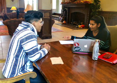 Amandeep Kaur, Campus Activities Council Spark chair, discusses plans for the leadership and volunteerism program with Ismael Gomez, CAC Spark executive vice chair on Oct. 11, 2018, in the Oklahoma Memorial Union. The first Spark meeting will take place in November.