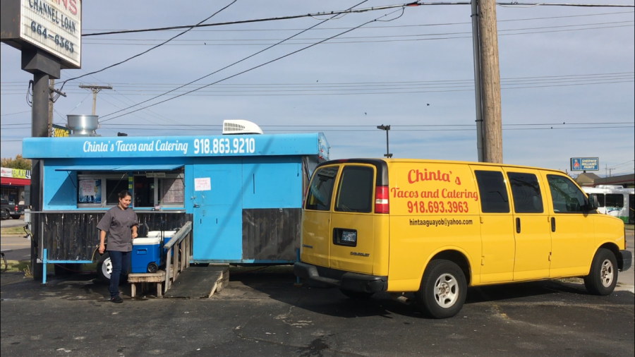 Chinta+Aguayo+stands+outside+of+her+business%2C+Chinta%E2%80%99s+Tacos+and+Catering+on+Nov.+4+in+Tulsa%2C+Oklahoma.