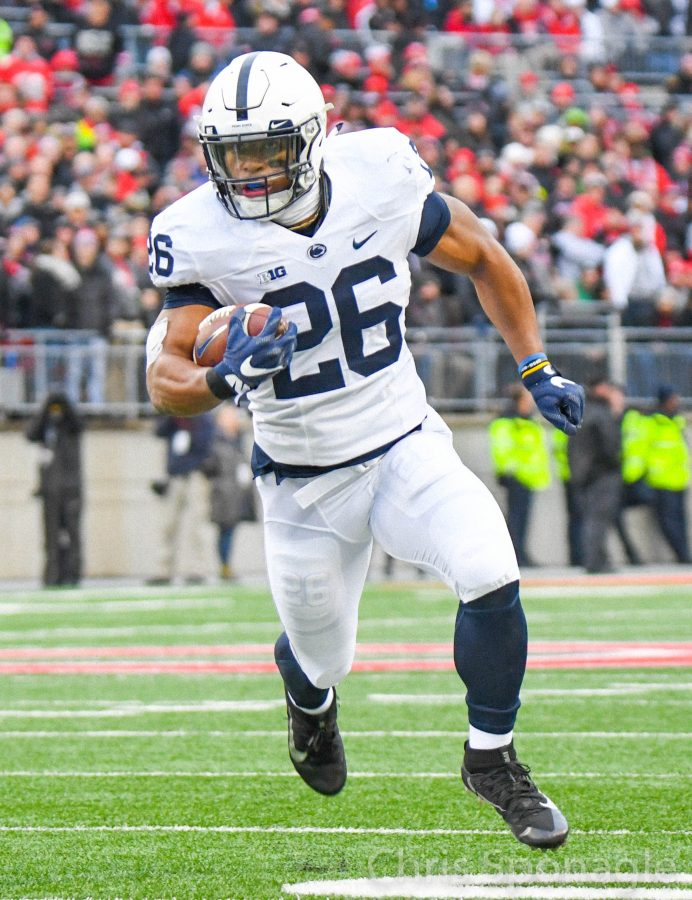 Saquon Barkley finds open space and run for a touchdown against Ohio State. Saturday, October 28, 2017. Special to the Reading Eagle: Chris Sponagle