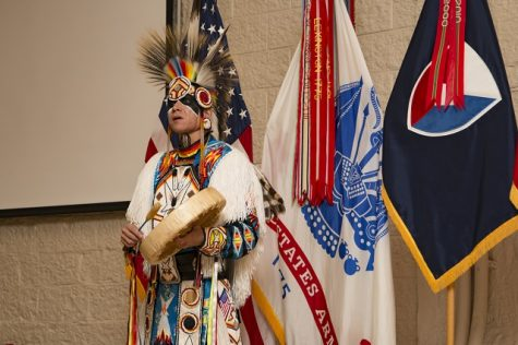 Ronald Preston from the San Carlos Apache Nation addresses the audience to a Native American Indian Heritage Month Observance at Rock Island Arsenal, Ill., Nov. 21, 2016. The event also featured a presentation by retired Maj. Jo Ann Schedler, a member of the Mohican Nation. (Photo by Staff Sgt. Ian M. Kummer, First Army Public Affairs)