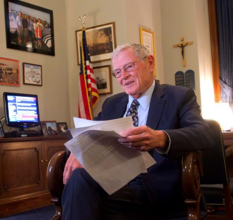 Inhofe finally sworn in as Senate impeachment trial begins