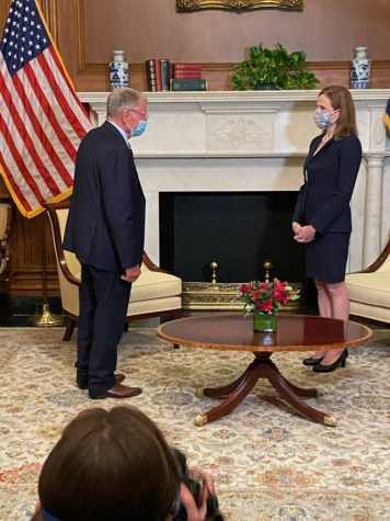 Oklahoma Sen. Jim Inhofe (left) meets with Supreme Court Justice nominee Judge Amy Coney Barrett (right) on Oct. 21 at the US Capitol. Fellow Oklahoma Sen. James Lankford also met with Judge Barrett an hour earlier. Gaylord News/Emma Sears