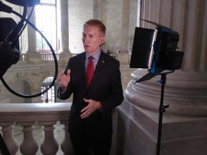 Oklahoma Sen. James Lankford talks with reporters about Supreme Court Justice nominee Amy Coney Barrett and stimulus negotiations. Gaylord News / Jessie Christopher Smith.