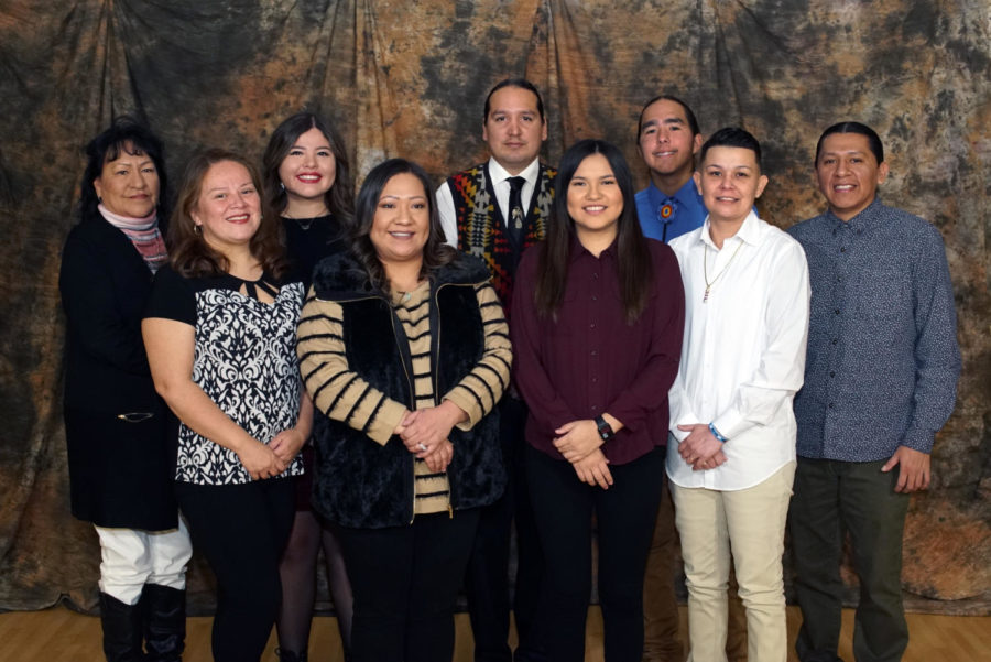 The Cheyenne and Arapaho Language Department staff: Left to right, back row: Carol Whiteskunk, Jazmine Johnson, Michael Elizondo, Brendan Haag and James Sleeper; Left to right, front row: Regina Youngbear, Rebecca Risenhoover, Shaynna Walker and Michelle Johnston.