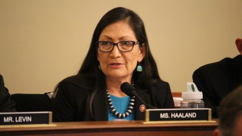Rep. Deb Haaland, D-N.M., speaking in Congress about the Mashpee Wampanoag Tribe in spring 2020. Haaland is the first Native American selected to run a Cabinet agency after the Senate confirmation of her nomination to be the next secretary of Interior. Photo courtesy House of Representatives
