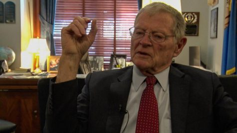 Sen. Jim Inhofe talks Tuesday about fraud in the 2020 presidential election. (PHOTO: Bennett Brinkman/Gaylord News)