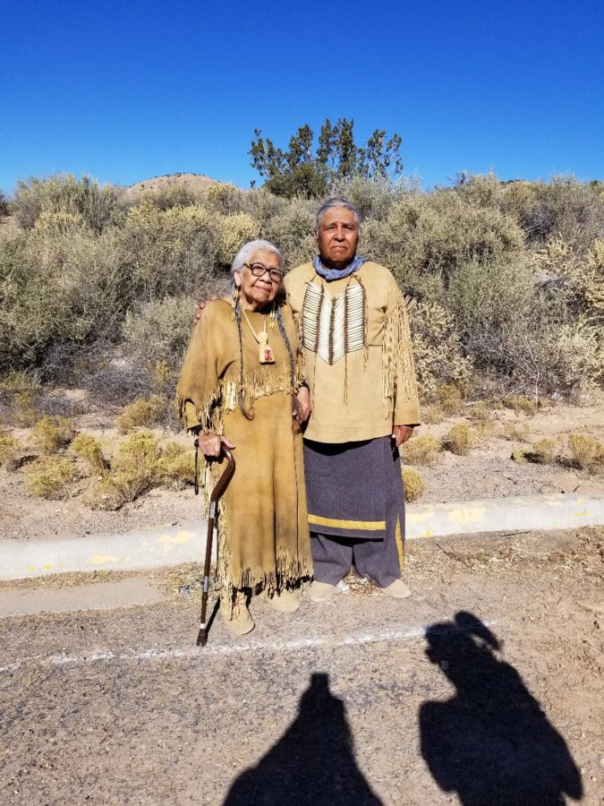 Dorothy WhiteHorse DeLaune and Gary Tsoodle pose for a picture together on the set. Photo by Lynda DeLaune.