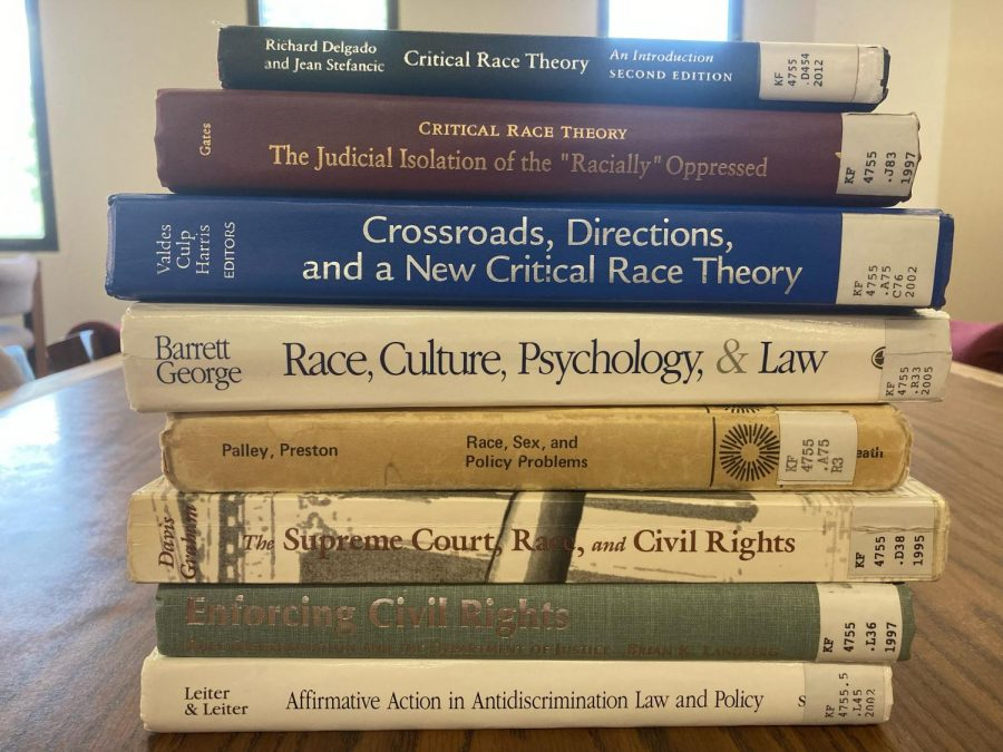 A group of books dealing with critical race theory at the Bizzell Memorial Library, located on campus at the University of Oklahoma in Norman. PHOTO BY: Will Blessing