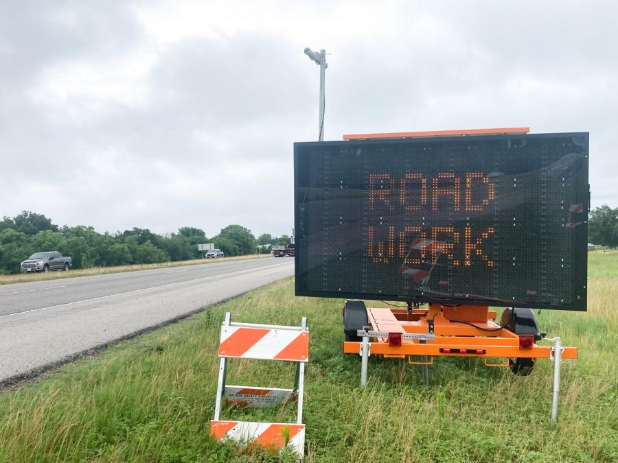 Sign+warning+of+road+work+ahead+on+I-35+near+Pauls+Valley.+Gaylord+News%2FWill+Blessing+