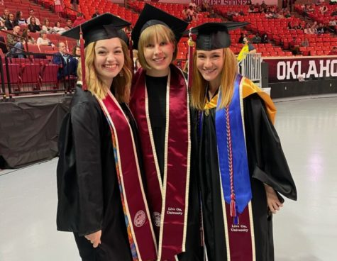 """Gaylord News reporters Miranda Vondale Foster (left), KaraLee Langford (center) and Brooklyn Wayland (right) pose together during the May 16 graduation ceremony for The University of Oklahoma Gaylord College of Journalism. The trio were hosts for the """"Survive & Thrive"""" podcast, a year-long endeavor to discuss COVID-19 and racism with Oklahomans from all walks of life."""