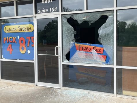 Windows at Tasty Thai in Del City were shattered in May. The restaurant was the target of burglary and vandalism four times during April and May. (Provided/Lyn Detphong)