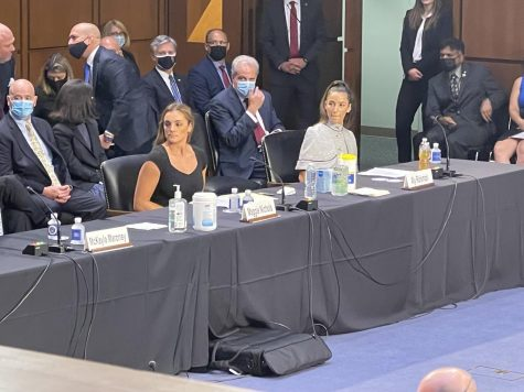 Maggie Nichols, former standout OU gymnast, testifies before the Senate Judiciary Committee, alongside Aly Raisman and three other Larry Nassar's victims. (Gaylord News/Zaria Oates)